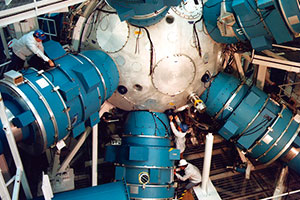"<h3>Nova Target Chamber</h3>In 1986, Nova produced the largest laser fusion yield to date - a record 11 trillion fusion neutrons. The following year, Nova compressed a fusion fuel target to about one-thirtieth of its original diameter, close to that needed for ignition and fusion gain.<br/><br/><a href=""content/assets/images/media/photo-gallery/large/nif-1109-17879.jpg"" target=""_blank"">Download hi-res image</a><br/><a href=""/media/photo-gallery?id=nif-1109-17879"">Direct Link</a>"