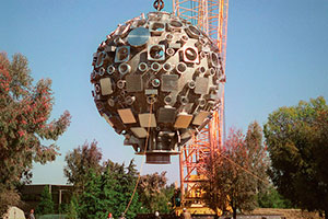 "<h3>Target Chamber Installation</h3>In June 1999, after careful preparation, a rotating crane hoisted the target chamber and gently moved it to the Target Bay, a breathtaking event that took only about 30 minutes. <br/><br/><a href=""content/assets/images/media/photo-gallery/large/nif-1209-18083.jpg"" target=""_blank"">Download hi-res image</a><br/><a href=""/media/photo-gallery?id=nif-1209-18083"">Direct Link</a>"