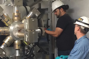 "<h3>Maintaining the NIF</h3>Technicians replace the photomultipliers in the filter-fluorescer hard x-ray diagnostic (FFLEX) during the December 2017 NIF facility maintenance and reconfiguration (FM&R) period. More than 160 tasks were performed over the nine-day period. The FFLEX is a broad-band, high-energy spectrometer used to measure the temporal history of the x-ray spectrum in the 20,000 to 500,000 electron-volt range using ten individually filtered, time-resolved detectors.<br/><br/><a href=""content/assets/images/media/photo-gallery/web/fflex_update-lg.jpg"" target=""_blank"">Download hi-res image</a><br/><a href=""/media/photo-gallery?id=fflex_update"">Direct Link</a>"