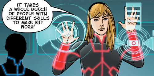 A panel from the NIF Careers comic book