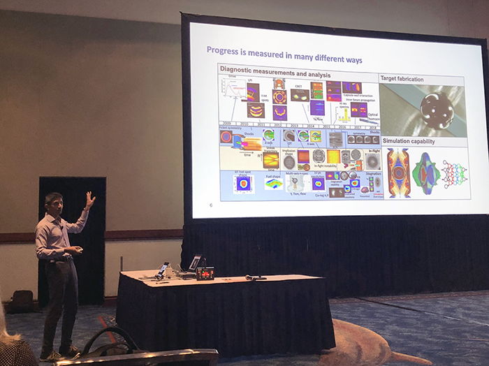 Photo of Pravesh Patel delivering his talk at the 2019 APS Division of Plasma Physics Conference
