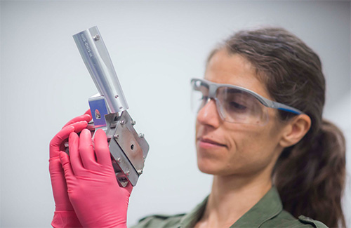 Federica Coppari Holds Diffraction Image Plate