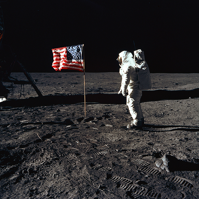 Photo of Buzz Aldrin standing on the lunar surface during Apollo 11