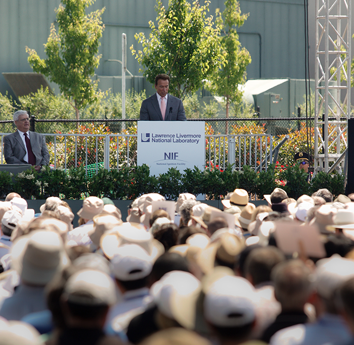 Photo of then-California Gov. Arnold Schwarzenegger speaking during NIF's dedication ceremonies