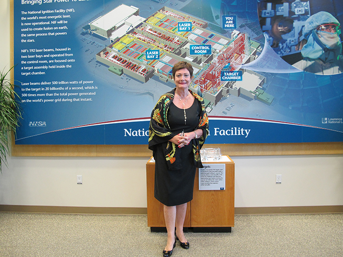 Photo of Ellen Tauscher visiting the NIF lobby.