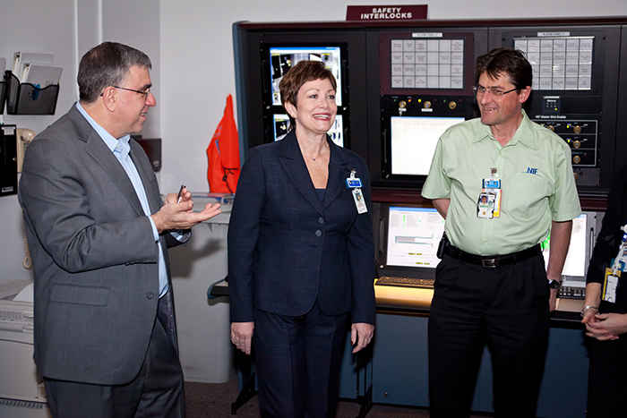 Photo of Ed Moses and Ellen Tauscher with current Operations Manager Bruno Van Wonterghem