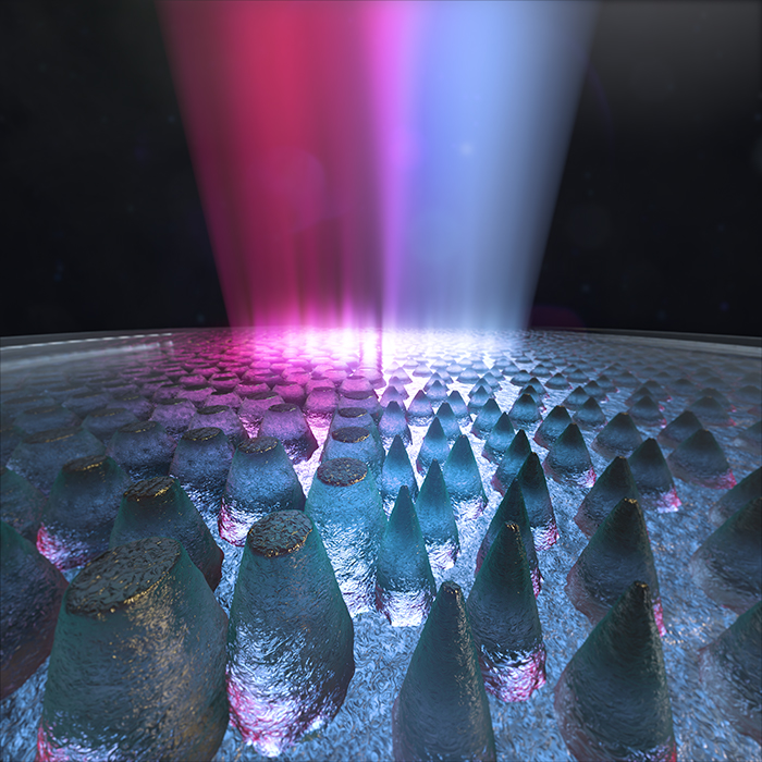 Artist's rendition of cone-shaped nanostructures