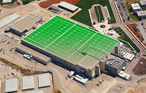 The Laser and Target Area Building is the size of three football fields.