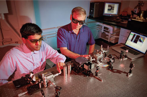 Scientists couple laser light to a rectangular core optical fiber